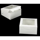 "1848 - 8"" x 8"" x 4"" White/White with Window, Lock & Tab Box with Lid"