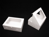 "1854 - 12"" x 9"" x 4"" White/White with Window, Lock & Tab Box With Lid. A27"
