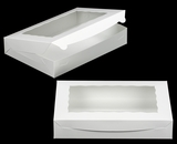 "1856 - 14"" x 10"" x 2 1/2"" White/White with Window, Lock & Tab Box With Lid. A27"