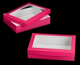 "1871x1835 - 19"" x 14"" x 4"" Pink/White Two Piece Lock & Tab Box Set with Window, 50 COUNT"