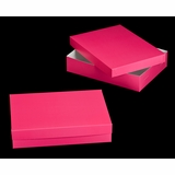 "1871x3245 - 19"" x 14"" x 4"" Pink/White Two Piece Lock & Tab Box Set without Window, 50 COUNT"