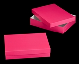 "1871x3245 - 19"" x 14"" x 4"" Pink/White Two Piece Lock & Tab Box Set without Window, 50 COUNT. A20xA14"