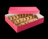"1871x3245 - 19"" x 14"" x 4"" Pink/White Two Piece Lock & Tab Donut Box Set without Window, 50 COUNT"