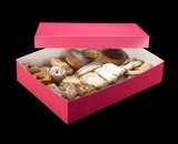 """1871x3245 - 19"""" x 14"""" x 4"""" Pink/White Two Piece Lock & Tab Pastry Box Set without Window, 50 COUNT"""