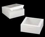 "1892 - 10"" x 10 ""x 4"" White/White with Window, One Piece Lock & Tab Box With Lid. A27"