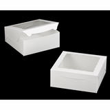 "1892 - 10"" x 10 ""x 4"" White/White Lock & Tab Box with Window"