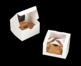 "2026 - 4"" x 4"" x 2 1/2"" White/White Lock & Tab Pastry Box with Wraparound Window"