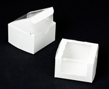 "2026 - 4"" x 4"" x 2 1/2"" White/White with Wraparound Window Lock & Tab Box With Lid. B06"