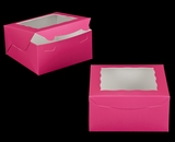 "2029 - 8"" x 8"" x 4"" Pink/White with Window, Lock & Tab Box with Lid. A19"