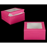 "2029 - 8"" x 8"" x 4"" Pink/White Lock & Tab Box with Window"