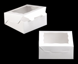 "2040 - 6"" x 6"" x 2 1/2"" White/White with Window, Lock & Tab Box With Lid. A09"