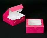 "2097 - 6"" x 6"" x 2 1/2"" Pink/White Lock & Tab Cookie Box with Window"