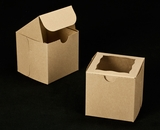 "2100 - 4"" x 4"" x 4"" Brown/Brown with Window, One Piece Lock & Tab Box With Lid"