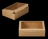 "2101 - 14"" x 10"" x 4"" Brown/Brown with Window, Lock & Tab Box With Lid. A29"