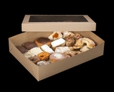 """2104x2102 - 19"""" x 14"""" x 4"""" Brown/Brown Lock & Tab Pastry Box Set with Window, 50 COUNT"""