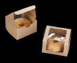 "2105 - 4"" x 4"" x 2 1/2"" Brown/Brown Lock & Tab Pastry Box with Wraparound Window"