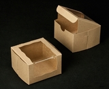"2105 - 4"" x 4"" x 2 1/2"" Brown/Brown with Wraparound Window Lock & Tab Box With Lid. B05"