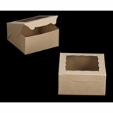 "2106 - 8"" x 8"" x 4"" Brown/Brown Lock & Tab Box with Window"