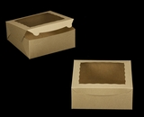 "2107 - 10"" x 10"" x 4"" Brown/Brown with Window, Lock & Tab Box With Lid. A22"