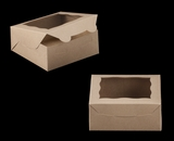 "2108 - 6"" x 6"" x 2 1/2"" Brown/Brown Lock & Tab Cookie Box with Window"