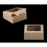 "2108 - 6"" x 6"" x 2 1/2"" Brown/Brown with Window, Lock & Tab Box With Lid"