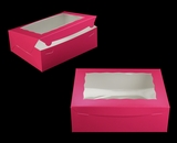 "2118 - 12"" x 9"" x 4"" Pink/White with Window, Lock & Tab Box With Lid. A27"