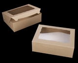 "2119 - 12"" x 9"" x 4"" Brown/Brown Lock & Tab Box with Window"