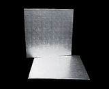 219 - 14 inch Cake Board, Square Silver Foil Single Wall Corrugated. C12