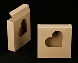 "2251 - 4 3/8"" x 4 3/8"" x 1"" Brown/Brown Cookie Box with Heart Window Reverse Tuck"
