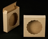 "2252 - 4 3/8"" x 4 3/8"" x 1"" Brown/Brown Cookie Box with Round Window Reverse Tuck"