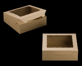 "2271 - 9"" x 9"" x 3"" Brown/Brown Lock & Tab Box with Window. A18"