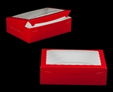 "2294 - 14"" x 10"" x 4"" Red/White with Window, Lock & Tab Box With Lid. A33"