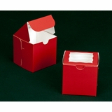 "2296 - 4"" x 4"" x 4"" Red/White Lock & Tab Box with Window"