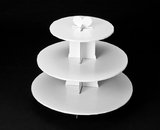 230 - White Cupcake Stand, 3 Tier Double Wall Corrugated. B01