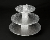 232 - Silver Cupcake Stand, 3 Tier Double Wall Corrugated. B01