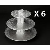 232q6 - Silver Cupcake Stands, 3 Tier Double Wall Corrugated