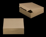"2373 - 9"" x 9"" x 3"" Brown/Brown Lock & Tab Box without Window. A19"