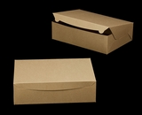 "2378 - 14"" x 10"" x 4"" Brown/Brown Lock & Tab Quarter Sheet Cake Box without Window"