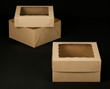 "2383x2398 - 12"" x 12"" x 6"" Brown/Brown Lock & Tab Box Set with Window"