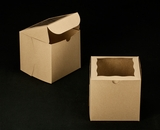 "2387 - 6"" x 6"" x 6"" Brown/Brown Lock & Tab Box with Window"