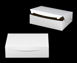 "239 - 14"" x 10"" x 4""  White/Brown without Window, Lock & Tab Box With Lid. A21xA21"