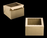 "2391 - 10"" x 10"" x 6"" Brown/Brown with Window, Lock & Tab Box With Lid. A29"