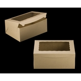 "2393 - 14"" x 10"" x 6"" Brown/Brown Lock & Tab Box with Window"