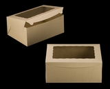 "2393 - 14"" x 10"" x 6"" Brown/Brown Lock & Tab Box with Window 50 COUNT"