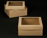 "2396x2397 - 14"" x 14"" x 6"" Brown/Brown Lock & Tab Box Set with Window, 50 COUNT. A18xA07"