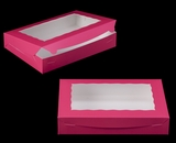 "2421 - 14"" x 10"" x 2 1/2"" Pink/White Lock & Tab Cookie Box with Window"