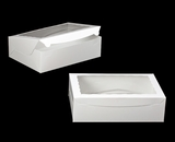 "244 - 14"" x 10"" x 4"" White/White Lock & Tab Box with Window"