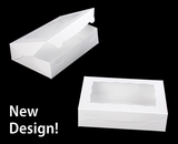 "2440 - 10"" x 7"" x 2 1/2"" White/White Lock & Tab Cookie Box with Window"