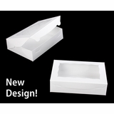 "2440 - 10"" x 7"" x 2 1/2"" White/White with Window, Lock & Tab Box with Lid"