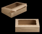 "2441 - 10"" x 7"" x 2 1/2"" Brown/Brown with Window, Lock & Tab Box with Lid. A14"